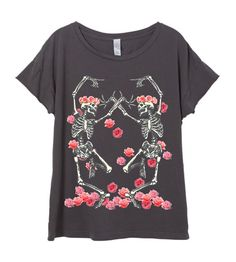 Womens Boho Vintage Rocker Dancing SKELETON Rose Flower Headdress Shirt Tee Top Bohemian Retro Cotton Fashion Short Sleeve Tshirt S M L XL