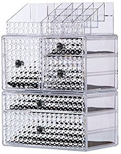 "Amazon.com: Cq acrylic 5 Tier Clear Acrylic Cosmetic Makeup Storage Cube Organizer with 5 Drawers. It Consists of 3 Separate Organizers, Each of Which can be Used Individually-9.8""x6.7""x15.4"": Home & Kitchen"