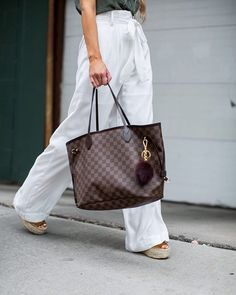 JUNE 2016 BY MARIA Shopping Guide: Summer Pants - Nordstrom Lace-Up Tank // Nordstrom White Trousers // Marc Fisher Espadrilles // Free People Sunglasses // Louis Vuitton 'Neverfull MM' Bag // Nordstrom Gold Bracelet Sac Louis Vuitton Neverfull, Vuitton Bag, Louis Vuitton Handbags, Louise Vuitton, Louis Vuitton Shoulder Bag, Tote Bag, Jumpsuit, Shorts, Purses