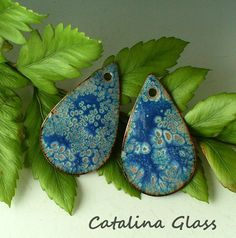 Enameled Copper Disk Earring Pair by Catalina Glass SRA  Blue Lace. $15.00, via Etsy.