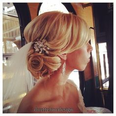 Bridal updo / romantic / loose / blonde / wedding hair