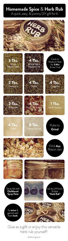 Homemade Spice & Herb Rub Recipe - A quick, easy, & yummy DIY gift for 6 - via @allisongrayce