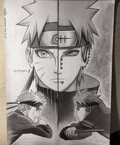 Awesome naruto and pain hand drawing by arteyata Anime Naruto, Naruto Vs Sasuke, Naruto Fan Art, Naruto Shippuden Anime, Otaku Anime, Anime Chibi, Sakura Kakashi, Kakashi Drawing, Naruto Sketch Drawing