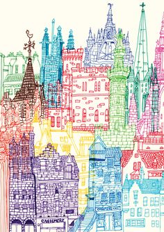 The use of marker here is clear in the hand drawn style which creates a quirky image. The colours here don't clash because each house/building is placed beside it's complimentary colour.