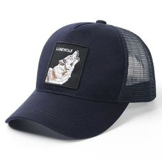 Wolf Head Cartoon Funny Animal Logo Classic Adjustable Cotton Baseball Caps Trucker Driver Hat Outdoor Cap Black