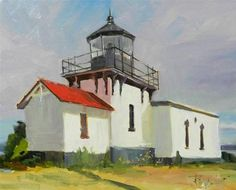 """Point No Point Light House plein air, light house painting by Robin Weiss"" - Original Fine Art for Sale - © Robin Weiss"