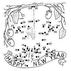 new year's coloring pages | happy new year dot to dot picture of an oppossum holding a new year s ...