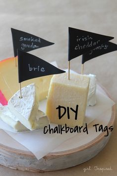 Looking for a laid back night? Try these DIY Chalkboard Cheese Tags from @joannstores! They are perfect for your next wine tasting party