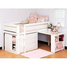 4 Pc Bed Loft Bunk Desk Kids Barbie White Drawer Furniture Girl Storage Chest