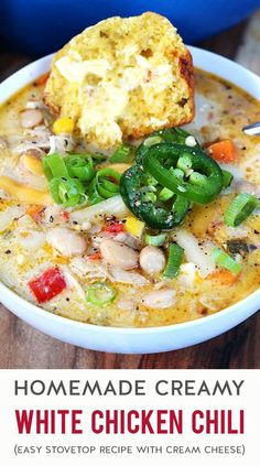AD: Craving something warm, cozy & comforting for dinner? Fix a batch of creamy white chicken chili on the stovetop tonight. It's packed with simple, hearty ingredients (like white beans & shredded chicken) + a rich & savory broth mixed with cream cheese that will have everyone scraping their bowl! Make this when you need an easy & family-friendly meal for cold weather. It's also a great recipe for using up leftover Thanksgiving turkey! Duck Recipes, Chili Recipes, Real Food Recipes, Healthy Recipes, Fall Recipes, Chowder Recipes, Soup Recipes, Dinner Recipes, Dinner Ideas
