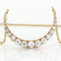 Antique Victorian Crescent Moon Old Mine Diamond 14 Karat Gold Pendant Necklace