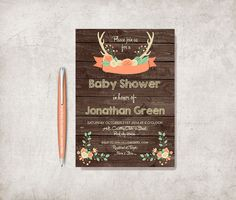 Woodland Baby Shower Invitation Printable, Birthday Invitation, Digital File - Rustic Baby Shower Invite - pinned by pin4etsy.com