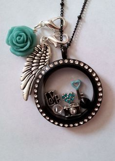 Origami Owl Large Matte Black Locket with Crystals, Angel Wing Dangle, Teal Rose Dangle