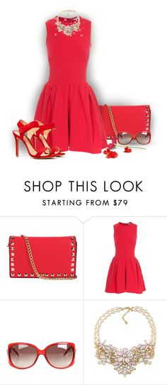 """Red - Outfit Only"" by youaresofashion ❤ liked on Polyvore featuring Carven, Gucci, Carolee, Schutz, women's clothing, women, female, woman, misses and juniors"