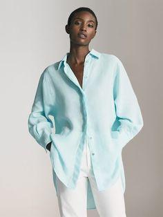 Massimo Dutti - Women - linen oversized blouse - Turquoise - S Polo Shirt Girl, Oversized Blouse, Shirts For Girls, Blouses For Women, Going Out, Rain Jacket, Windbreaker, Women Wear, Jackets
