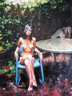 "Saatchi Art Artist: Thomas Saliot; Oil 2013 Painting ""plastic blue chair"""