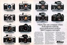Vintage Camera Very cool Nikon timeline. - Very cool Nikon timeline. Antique Cameras, Old Cameras, Vintage Cameras, Vintage Ads, Vintage Style, Vintage Fashion, Nikon Camera Models, Leica Camera, Nikon Cameras