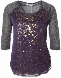3/4 Sleeves Grey Sequins Blouse