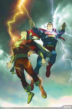 Captain Marvel & Superman by Joshua Middleton