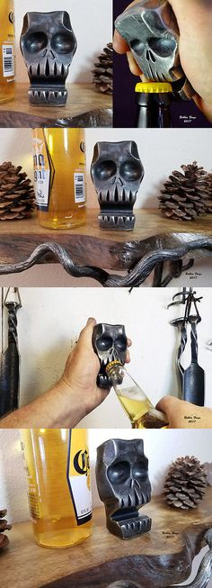 Corkscrews and Openers 20688: Skull Bottle Opener And Business Card Holder, Blacksmith Hand Forged Steel -> BUY IT NOW ONLY: $69 on eBay!