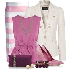 A fashion look from February 2014 featuring pink top, blazer jacket and cropped pants. Browse and shop related looks. Trouser Outfits, Hot Outfits, Classic Outfits, Fashion Outfits, Curvy Girl Fashion, Pink Fashion, Womens Fashion, Fashion Beauty, New Years Outfit