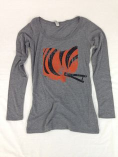 Ladies' Cincy Ohio Helmet Long Sleeve Scoop Neck - Black/Orange – Be Ohio Proud
