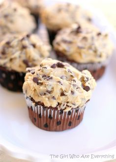 Chocolate Chip Cookie Dough Cupcakes with Cookie Dough Frosting. This recipe is spot on!