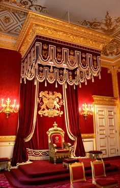 The Throne Room at St James's Palace, London. Queen of Everything St James's Palace, Palace London, Royal Palace, Buckingham Palace Instagram, Palaces, Royal Throne, London Olympic Games, Palace Interior, Cabana Decor