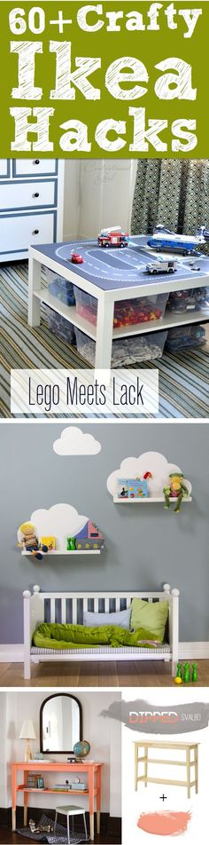 60++Crafty+Ikea+Hacks+To+Help+You+Save+Time+And+Money! Lego table/storage and the padded storage cubes for playroom are great ideas!