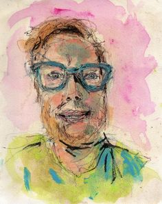 """7/03/15 - Rob.  Mixed media on watercolor paper. 8"""" x 10"""". NFS."""