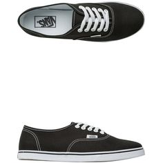 Vans Authentic Lo Pro Shoe ($45) ❤ liked on Polyvore featuring shoes, sneakers, black, waffle trainer, black trainers, narrow sneakers, woven sneakers and black lace up shoes