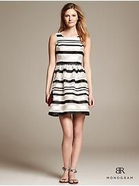 BR Monogram Striped Organza Fit-and-Flare Dress