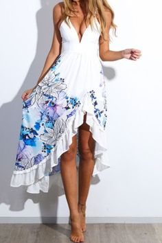 Alluring Spaghetti Strap Sleeveless Floral Print Low Cut Women's DressPrint Dresses | RoseGal.com