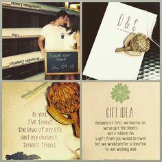 Protea & succulent wedding invite