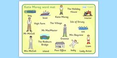 A colourful word mat containing the main vocabulary encountered when writing about this story. Katie Morag, Home Learning, Year 2, English Vocabulary, Book Recommendations, Literacy, The Book, Classroom, Map