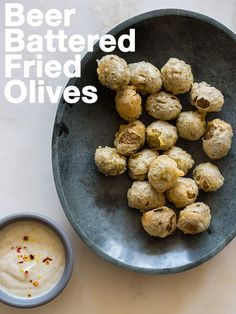 A perfect appetizer recipe for Beer Battered Fried Olives. Crispy olives perfectly paired with a light cumin yogurt sauce. Olive Recipes Appetizers, Beer Recipes, Best Appetizers, Great Recipes, Cooking Recipes, Favorite Recipes, Easy Recipes, Tapas Recipes, Appetizer Ideas