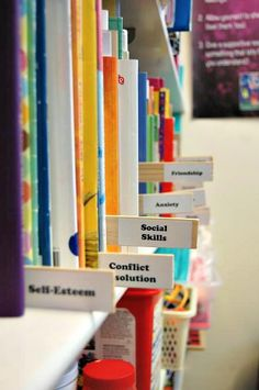 Loved this idea when I saw it organizing alphabetically, but used it to divide books by counseling subject.  Paint sticks + printable address labels = organization perfection!
