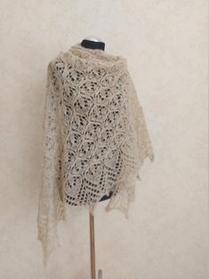 Beige hand knitted alpaca and silk shawl Cream white lace   Etsy White Beige, Cream White, Light Beige, White Lace, Silk Shawl, Mulberry Silk, Bridal Outfits, Knitted Shawls, Lace Knitting