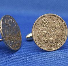 Lucky Wedding Sixpence Cufflinks QE2 English 6p 6d Coin by SubwayCufflinks, $14.99