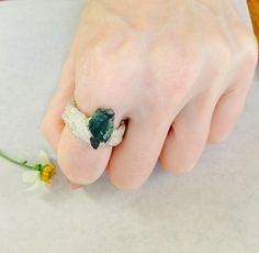 Sale Emerald Ring, Crystal Ring, Gemstone Ring, Birthstone Ring, Statement Ring, Avant Garde Ring by NaturefyingJewelry on Etsy