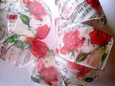 Musical Rose Sheer Wired Ribbon Multi / Red by PrimroseLaceRibbon, $4.00