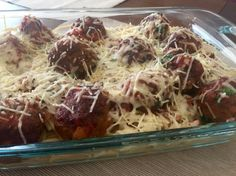 Baked meatballs with spaghetti