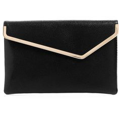 Henri Bendel Debutante Asymmetric Metal Clutch ($278) ❤ liked on Polyvore featuring bags, handbags, clutches, purses, accessories, black, magnetic purse, foldover clutches, fold-over clutches and foldover handbags