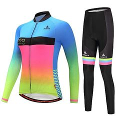 Miloto Women s Long Sleeve Cycling Jersey with Tights - Luminous Bike  Clothing Suit Winter Gradient   dfcd038e1