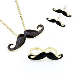 Mustache Jewelry Set – Necklace with Mustache Pendant, Mustache Earrings and Double Mustache Ring. The Retro Jewelry Set 4 Pieces + Alcohol Pad Long Pendant Necklace, Pendant Jewelry, Women's Jewelry Sets, Ring Earrings, Double Earrings, Jewelry Design, Double Ring, Alcohol, Amazon