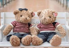 Plush Teddy Bear Doll, with Cloth, different size for choice & different styles for choice, Sold By Lot