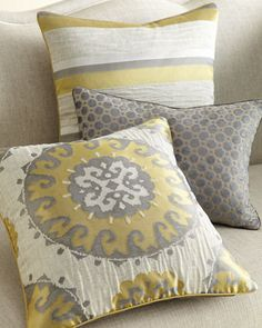 Shop luxury pillows and throws at Neiman Marcus. Warm up to throw pillows and accessories that make it possible to personalize your living style. Grey Throw Pillows, Accent Pillows, Decorative Throw Pillows, Couch Pillows, Chair Cushions, Decorative Items, Home Decor Furniture, Home Furnishings, Grey And Yellow Living Room