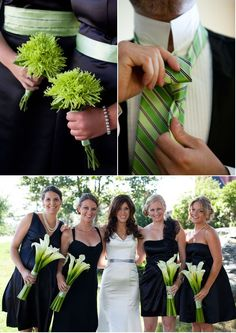 Love the calla lilies and navy blue dresses! #weddings #lilies #navy