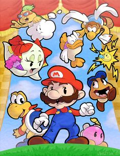 It's a Paper World by ~Lawlzy on deviantART this is my all time fav Mario game! Mario Video Game, All Video Games, Video Game Art, Super Mario Brothers, Super Mario Bros, Japanese Video Games, Paper Mario, Mario And Luigi, Thing 1