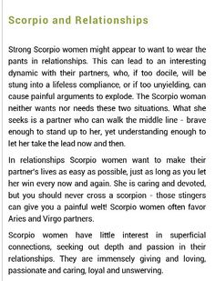 "Scorpio relationships. Accurate minus the ""Aries and Virgo"" bullshit. Those are the worst! Seek a Pisces instead."